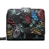 Bifold Animal Printing Genuine Leather Women Mini Clutch Wallet Flower Female Coin Purse Women Leather Card Holder Wallet