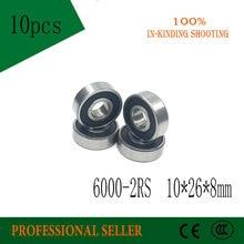 Free shipping 10pcs 6000-2RS 10*26*8mm Bearing 10x26x8 mm Deep Groove 6000 2RS Ball Bearings 6000RS 180100 RS