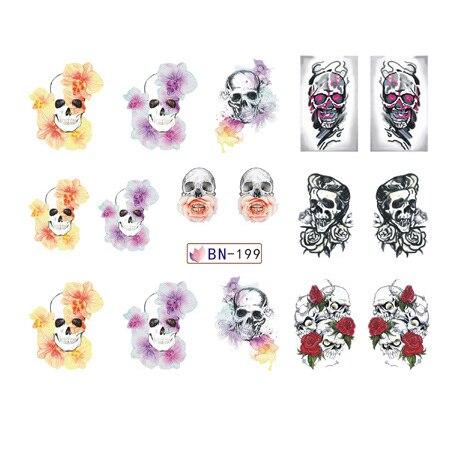 Adesivos para unhas água decalques crânio cabeça rosa dia das bruxas slider arte design decoração manicure folha adesivo envoltórios pegatinas