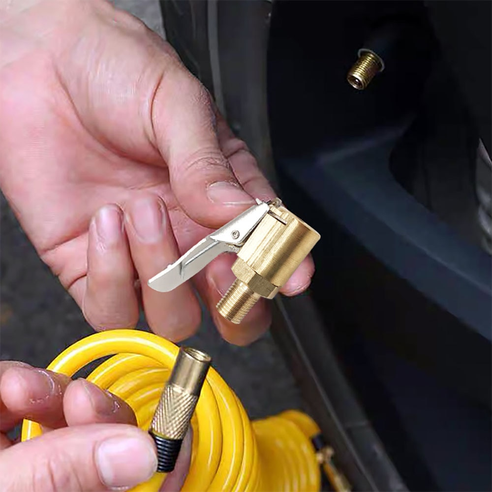 Adaptateur de connecteur de pince de pneu de voiture   Outil de connecteur de pince de pneu de voiture en laiton 1/4