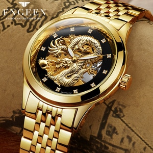 FNGEEN 3D Carving Skeleton Stainless Steel Strap Transparent Case Hollow Gold Mens Watches Top Brand Luxury Automatic Mechanical