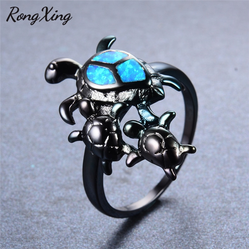 Marca única rongxing tortuga azul fuego ópalo Animal anillos para mujeres cóctel banda para fiesta Vintage oro negro lleno anillo de boda RB0797