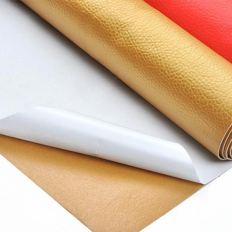 Pegamento adhesivo Pu de cuero estampado tela de tapicería para muebles sofá...