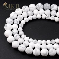 natural matte white howlite turquoises stone beads for jewelry making 681012mm 15inches wholesale perles bijoux