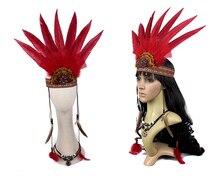 Czerwony ozdoba na głowę z piór ręcznie nakrycia głowy z piór maski wojny Halloween kostium akcesoria dla dorosłych, jak i dla dzieci