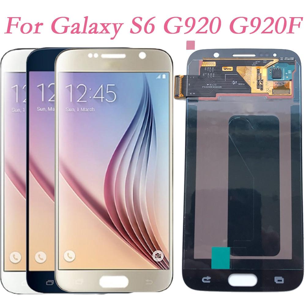 Super AMOLED para Samsung Galaxy S6 G920F G920I Digitalizador de pantalla táctil Marco de pantalla LCD para Samsung G903 G920FD G920FQ montaje