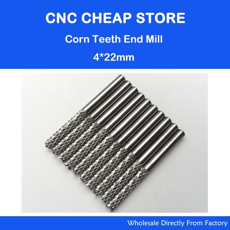 Frete grátis 10 pcs 4mm shank 22mm CEL Carbide End Moinho Gravura Conjunto de Bits CNC Rotary Rebarbas fresa milho PCB router bits