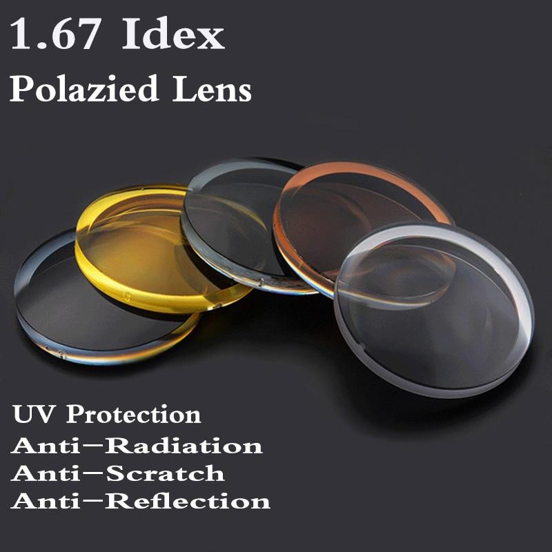 1.67 مؤشر شبه كروي الاستقطاب النظارات الشمسية وصفة طبية عدسة CR-39 قصر النظر الشيخوخي الأشعة فوق البنفسجية حماية نظارات الشمس عدسة 2 قطعة RS234
