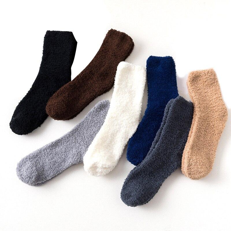 Зимние толстые повседневные женские мужские носки однотонные термо теплые махровые носки пушистые короткие махровые хлопковые пушистые н...