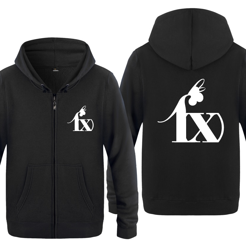 Cool Fx Kpop logo sudaderas hombres 2018 hombre cremallera con capucha polar sudaderas cárdigans