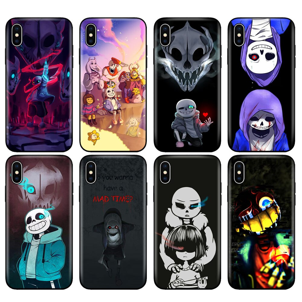 Negro tpu caso para iphone 5 5s s 7, s 6 de 8x10, funda de silicona para iphone XR XS 11 pro MAX caso Undertale Sans