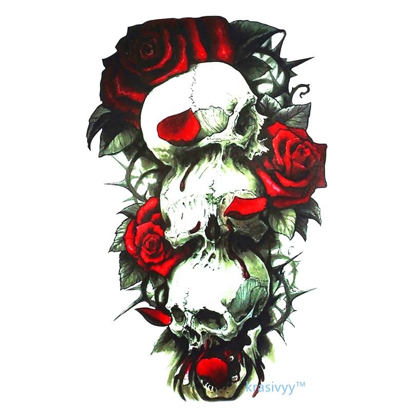 2017 calaveras y rosas rojas gran oferta 21X15 CM tatuajes temporales arte corporal a prueba de agua tatuaje falso chica chico
