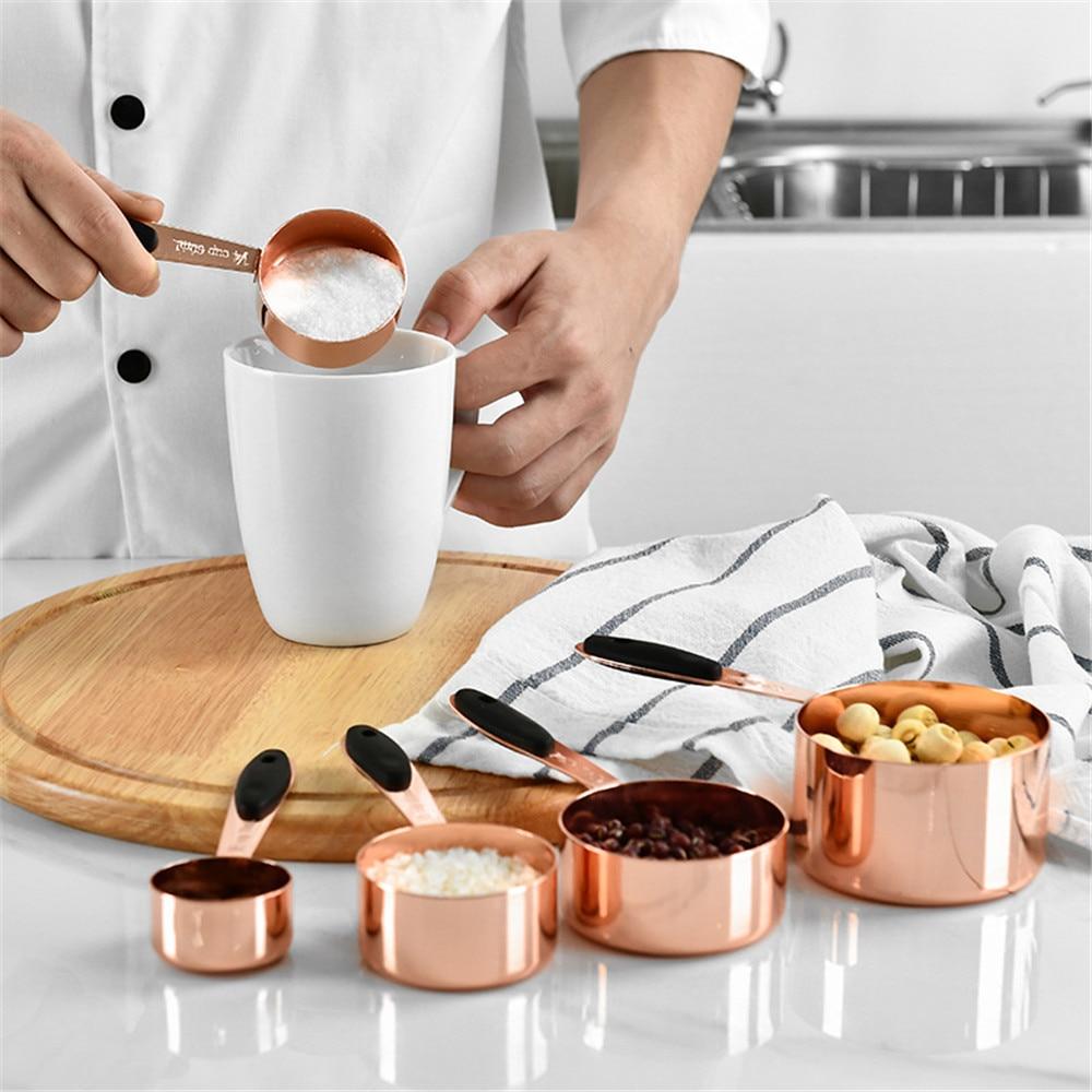 Aço inoxidável colher de medição colher café chá bolo em pó de cozimento lidar com durável talheres colher cozinha ferramenta acessórios 5pcs