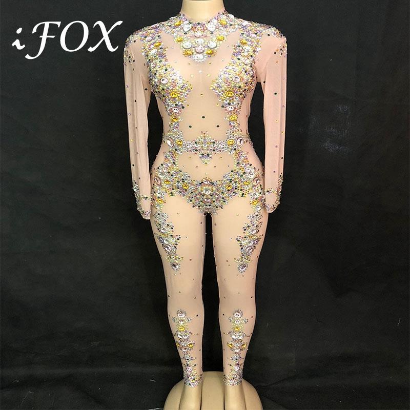 2019 Colorful Rhinestones Mesh Sexy Jumpsuit Women's Birthday Celebrate Bodysuit Outfit Stage Costume Nightclub Dance Leggings