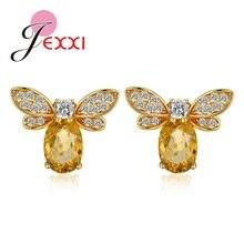 Nouveau mignon petite abeille boucle doreille bijoux couleur or miel abeille boucles doreilles goujon Unique jaune cristal strass boucles doreilles bijoux pour les femmes