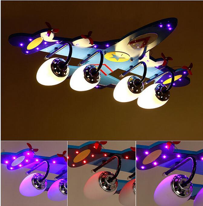 Avião novo CONDUZIU a Luz de Teto Lâmpada Quarto Iluminação sala de estar Iluminação Criança Menino Sonho Jato Voar Azul Criança Vôo