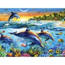Nuevo Animal bordado de diamante cristal completo diamante decorativo diy pintura de diamante punto de cruz familia de delfines KBL