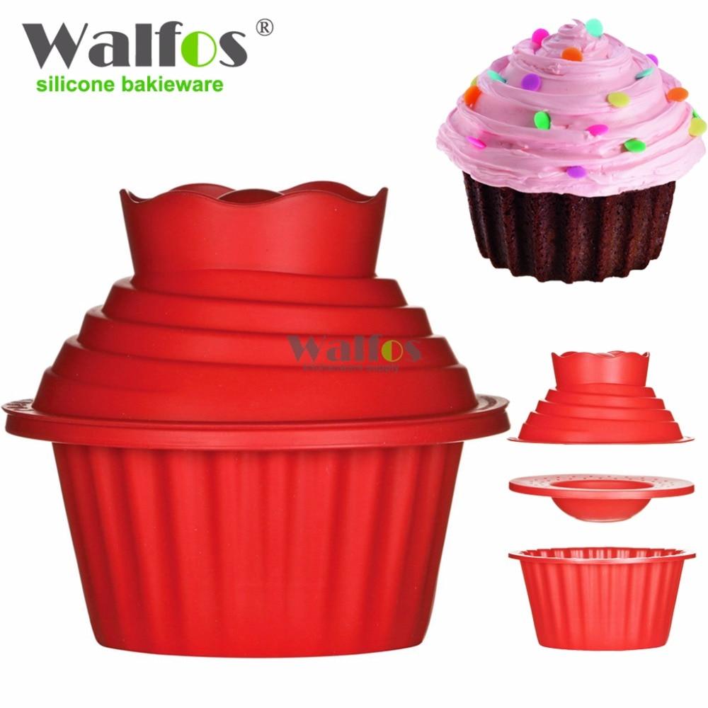 Силиконовая гигантская форма для кекса WALFOS, 3 шт., большая силиконовая форма для кекса, термостойкие Инструменты для выпечки