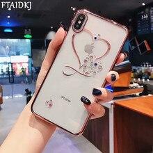 Coque arrière transparente transparente de luxe FTAIDKJ pour iphone XS Max XR X 7 6 6 S 8 Plus coque amour coeur Bling diamant silicone Capa