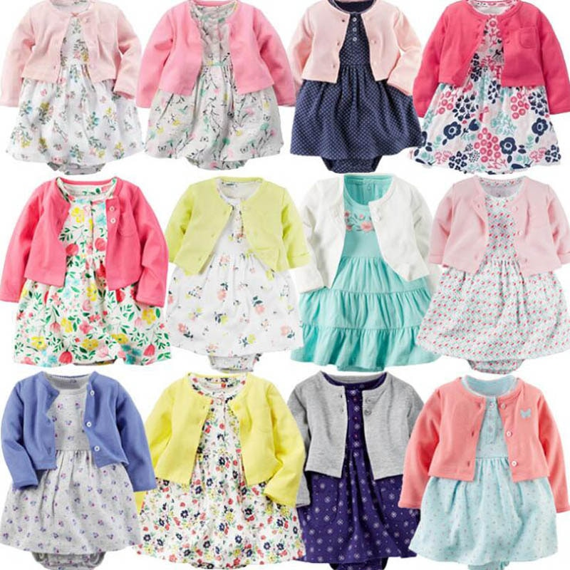 Otoño 2018, ropa para niñas pequeñas, vestido para niñas, abrigo de manga larga + traje de manga corta, vestido de 2 piezas, conjuntos de ropa para niñas bebés