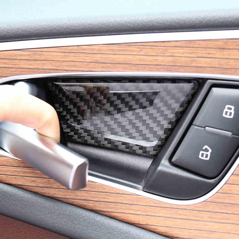 Estilo do carro interior porta tigela quadro capa de fibra de carbono adesivo botão de advertência guarnição para audi a6 c7 c8 2012-20 acessórios automóveis