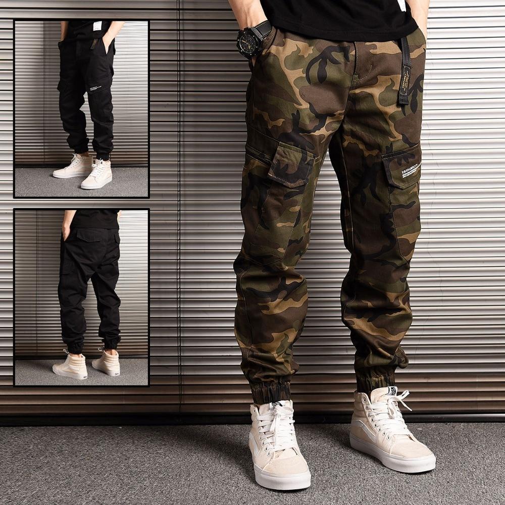 Estilo japonés moda Streetwear hombres vaqueros de jogging pantalones de camuflaje militar pantalones sueltos gran bolsillo pantalones de carga pantalones de hip hop