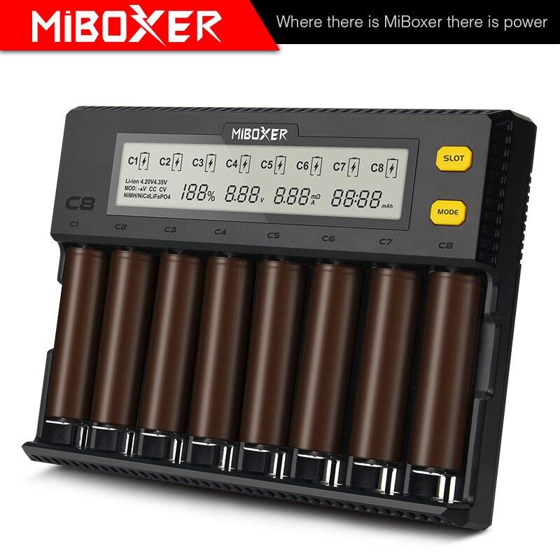 Cargador inteligente Miboxer c8 con 8 ranuras, salida Total de 4A, cargador inteligente para IMR18650 16340 10440 AA AAA 14500 26650 y dispositivo USB
