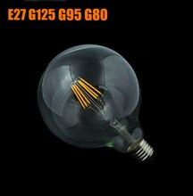 Edison Led ampoule à Filament grande ampoule mondiale à intensité variable 4 W-10 W ampoule à filament E27 verre clair lampe dintérieur AC220V G125 G95 G80