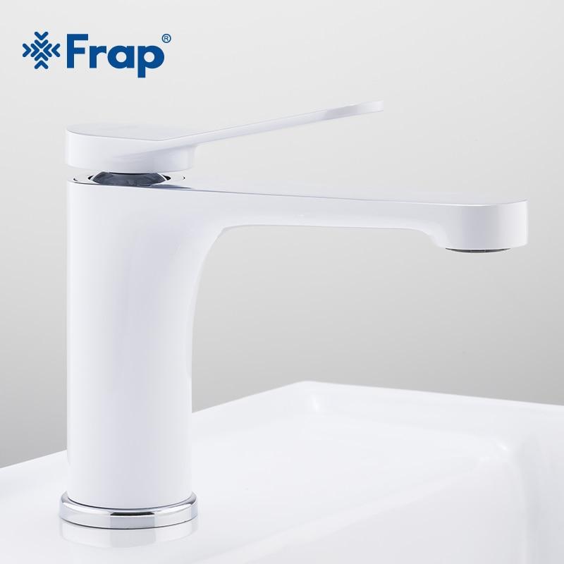FRAP-حنفيات حوض الحمام الجديدة الحديثة من الكروم الأبيض مع فتحة بمقبض واحد وخلاط حمام ورافعة F1045