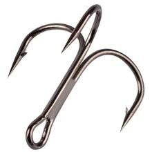 10Pcs/lot 2# 4# 6# 8# 10# Black Fishing Hook High Carbon Steel Treble Overturned Hooks Fishing Tackle Round Bend Treble For Bass