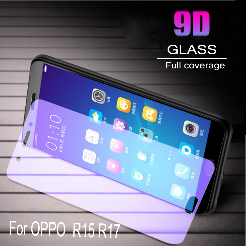 100pcs Glass Protective Film 9D Full Cover Tempered Glass For OPPO R15 R17 Screen Protector   Anti Blue Ray  Glass film