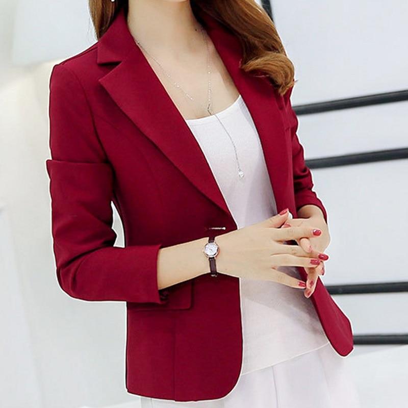 2019 Blazer de un solo botón para Mujer Oficina señora Formal de manga larga Otoño Invierno moda chaqueta femenina Abrigo Mujer Abrigo