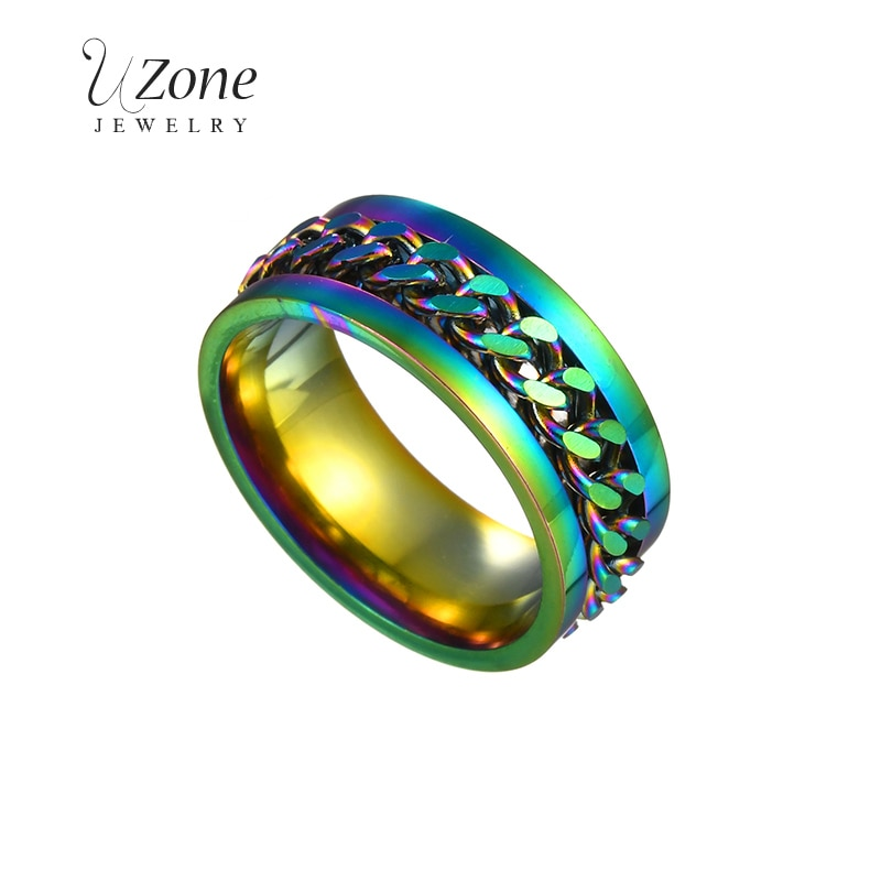UZone красочные цепи вертушка кольцо для мужчин хип-хоп панк нержавеющая сталь черный золотой свадебный ремешок Мужские кольца модный подаро...