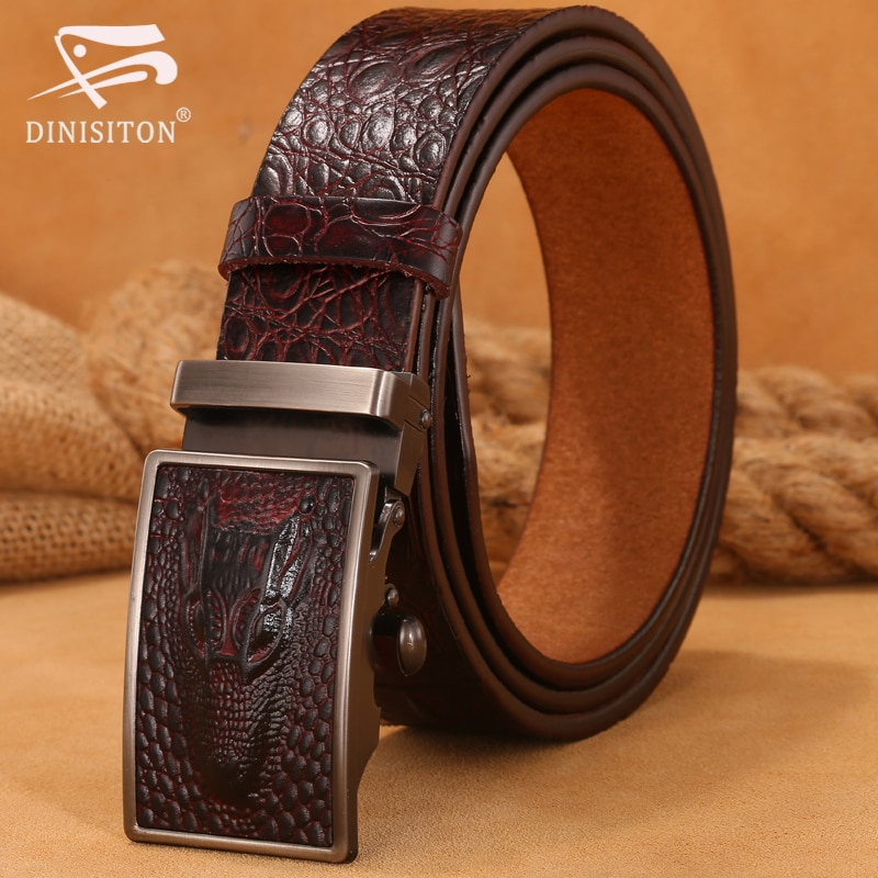 DINISITON Hot Sale Men belts Luxury Genuine Leather Crocodile designer High Quality Automatic Belt Man Buckle Real Cowhide Jeans no onepaul cowhide leather strap designer quality metal belts men high luxury jeans waistband men belts automatic buckle belt