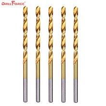5 pièces/ensemble 11.5mm torsion spirale forets HSS entièrement rectifié DIN338 titane enduit bois bois métrique outil de forage pour le métal