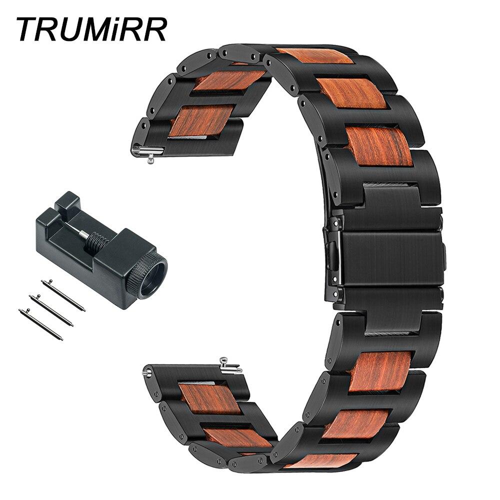 سوار ساعة من الخشب الطبيعي + الفولاذ المقاوم للصدأ 22 مللي متر لشاومي Amazfit Pace/Stratos 2 2S Ticwatch 1/Pro حزام ساعة سريع التحرير