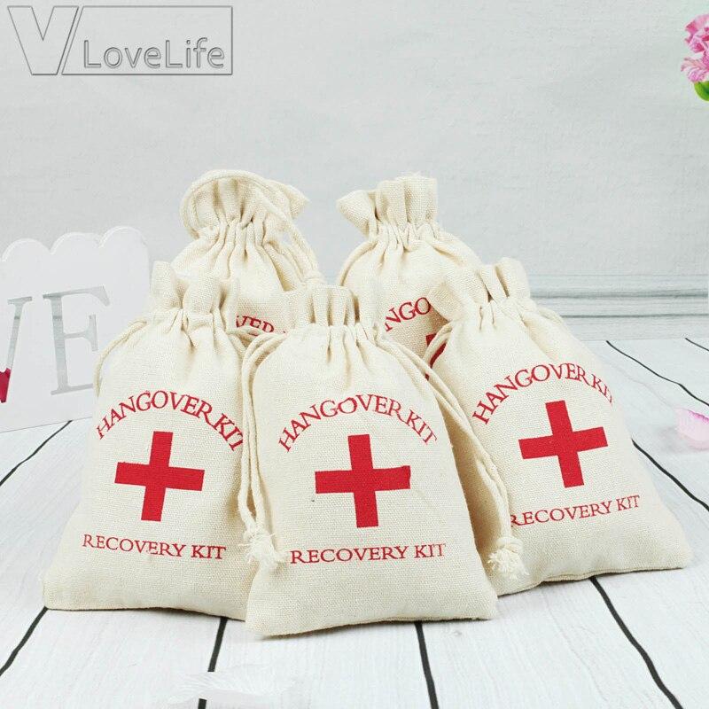 100 Uds. Bolsas de regalo de 10x14cm caja de caramelos de algodón Kit de resaca de boda bolsas para despedida de soltera Kit de recuperación de resaca Favor de fiesta