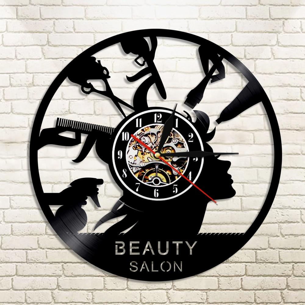 1 pieza, salón de belleza, reloj de pared con grabación de vinilo, peluquería, luz LED LP, arte de pared, Barbero, luz de fondo Led, decoración del hogar
