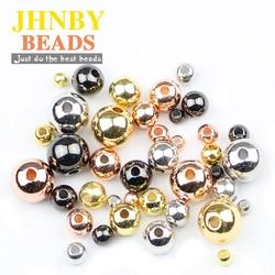 Медные бусины JHNBY, круглые металлические шарики золотого/черного цвета, 4 цвета, 3/4/5/6/8 мм, для ювелирных изделий, браслетов, для самостоятельного изготовления ювелирных изделий