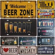 Plaque en métal numéro de voiture   Plaque de groupe de bière, signe de numéro de voiture, signe en étain Bar Pub café maison décor signe de Plaques de peinture pour Garage, offre spéciale