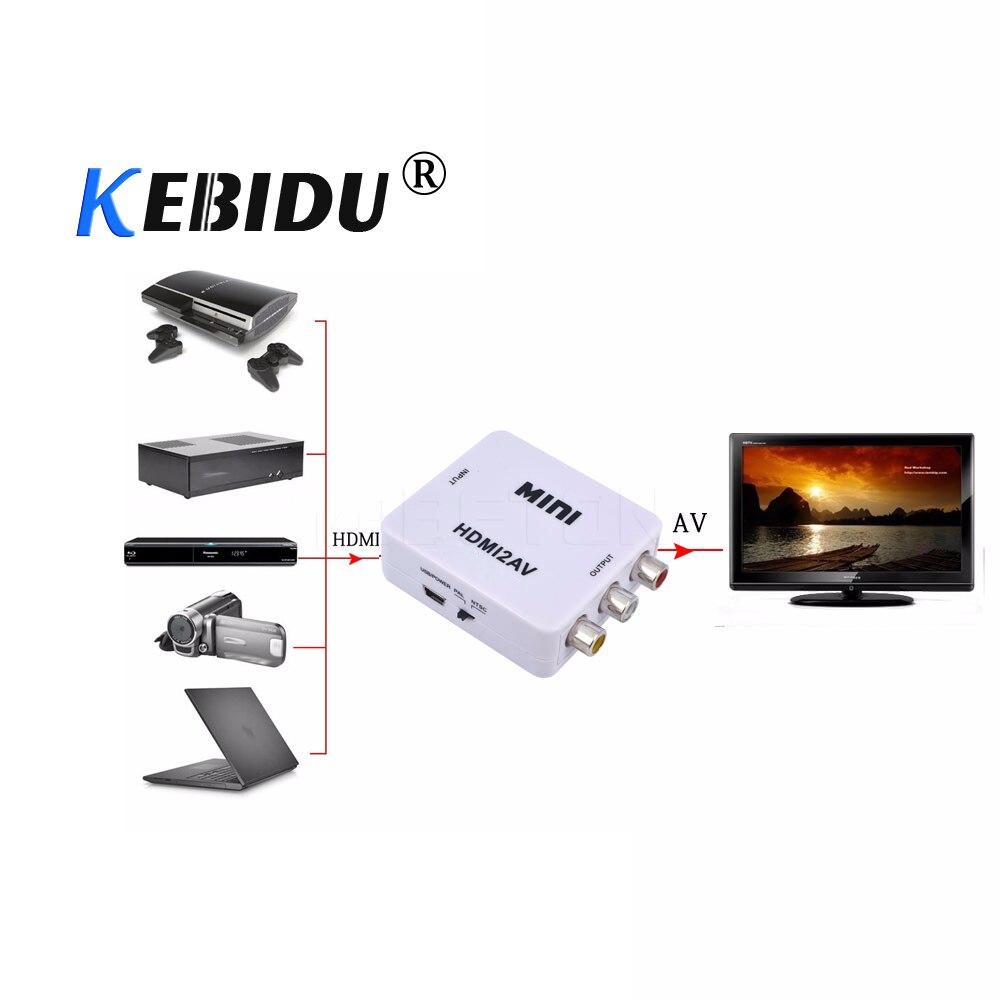 Kebidu HD 1080P Chip 1920*1080 @ 60Hz HDMI2AV Hdmi a RCA AV/CVSB L/R caja convertidora de vídeo compatible con NTSC y PAL Salida de alta calidad