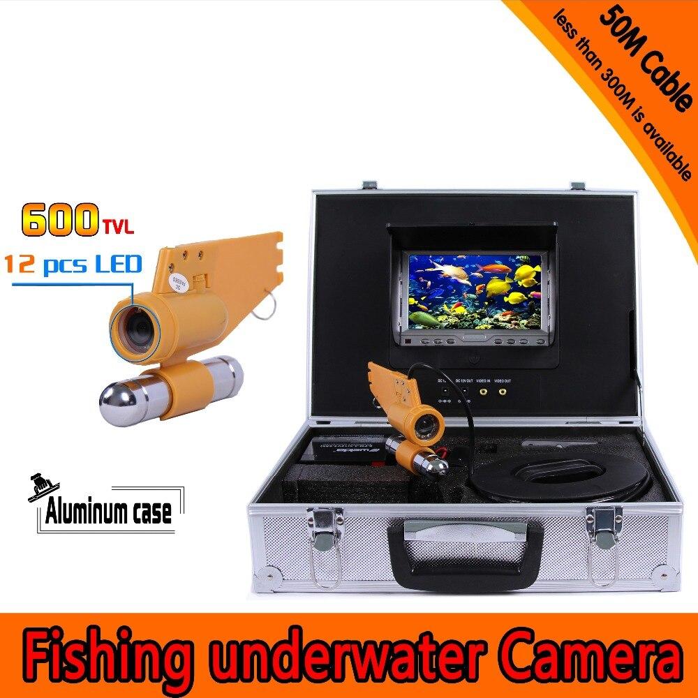 (1 Juego) 50M Cable cámara de pesca submarina sistema CCTV impermeable 7 pulgadas TFT-LCD pantalla a Color IR 12 LEDS buscador de peces