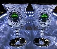 Copa de vino de plata del Tíbet de jade blanco de 6 piezas decoración de jardín Vintage Noble precio barato 100% latón plateado tibetano