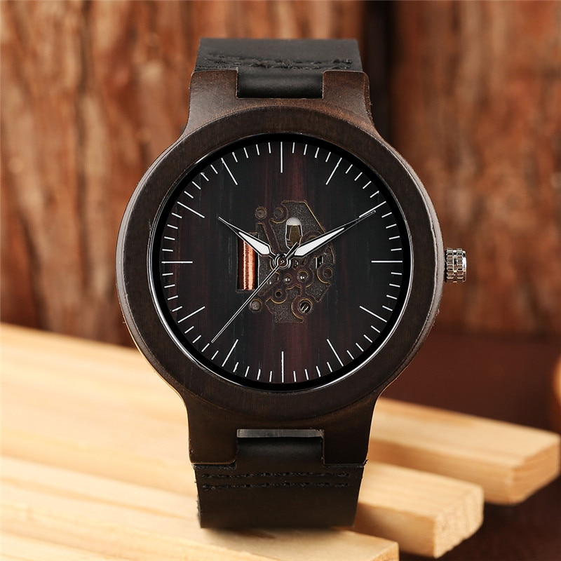 Creative Hollow Black Brown Handmade Natural Wooden Bamboo Quartz Wrist Watches Genuine Leather Watch Band Men's Clock Gifts wooden couple watch quartz leather band handmade walnut wood watches hollow dial valentine s day lover gift reloj para parej