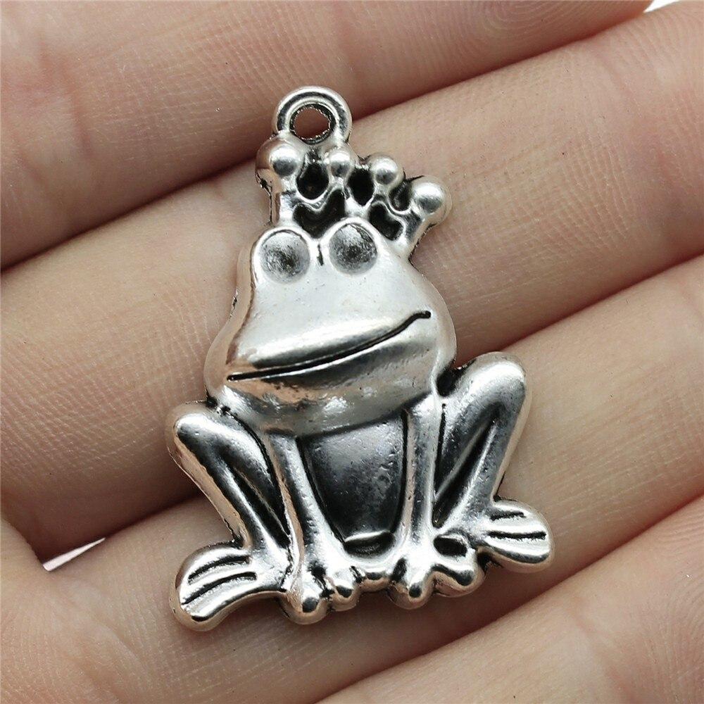 WYSIWYG 2 pièces 34x25mm Prince grenouille breloque pendentifs pour la fabrication de bijoux Antique couleur argent grenouille Prince pendentifs breloque grenouille