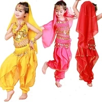 kids girl children child belly dance costume bollywood indian bellydance belly dancing costumes 4pcs sets egypt egyptian show