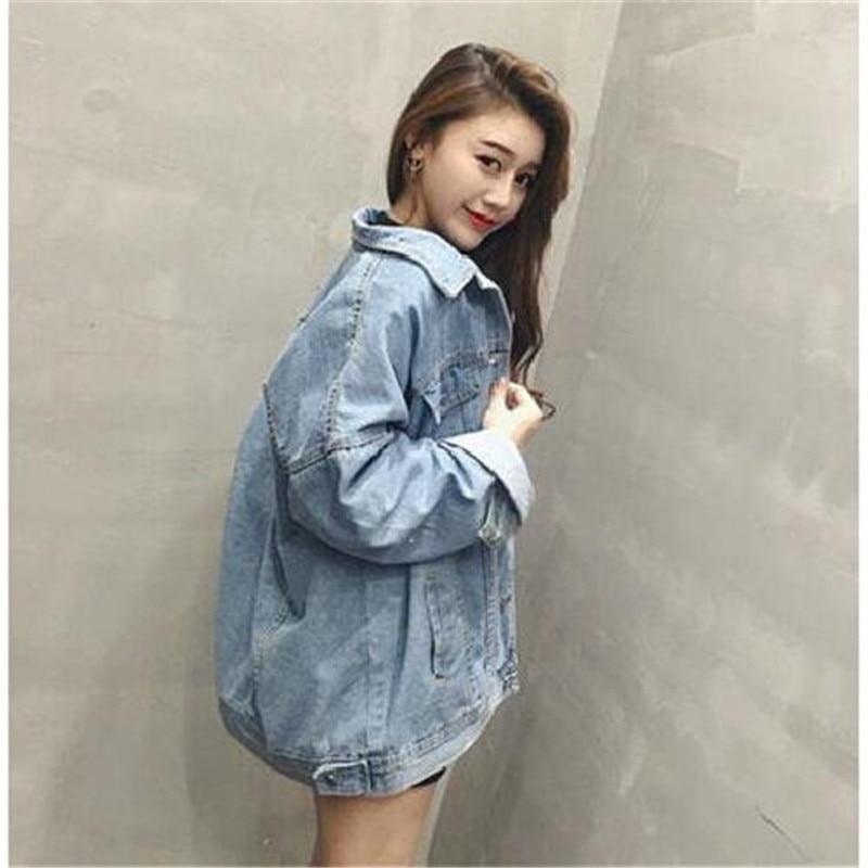 Autumn Women Loose Basic Coats Female Jeans Coat Feminino Slim Denim Jacket Oversize Bomber Streetwear Veste Femme