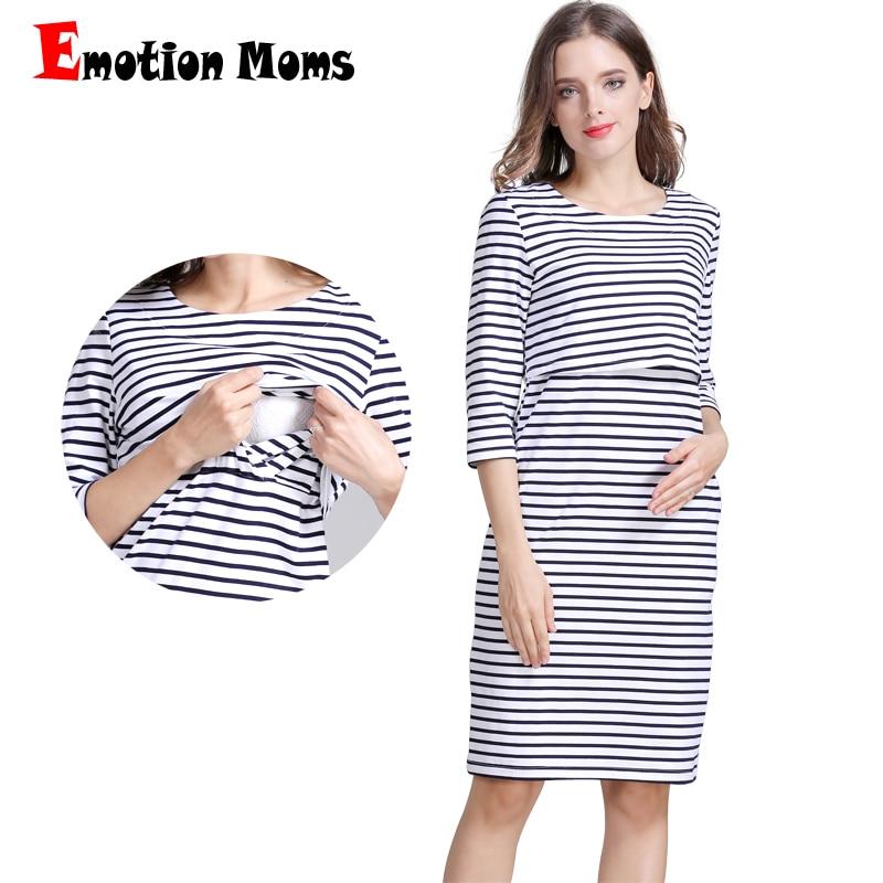 Vestido de lactancia de algodón a rayas para embarazadas vestido de maternidad vestido de lactancia falda de verano primavera