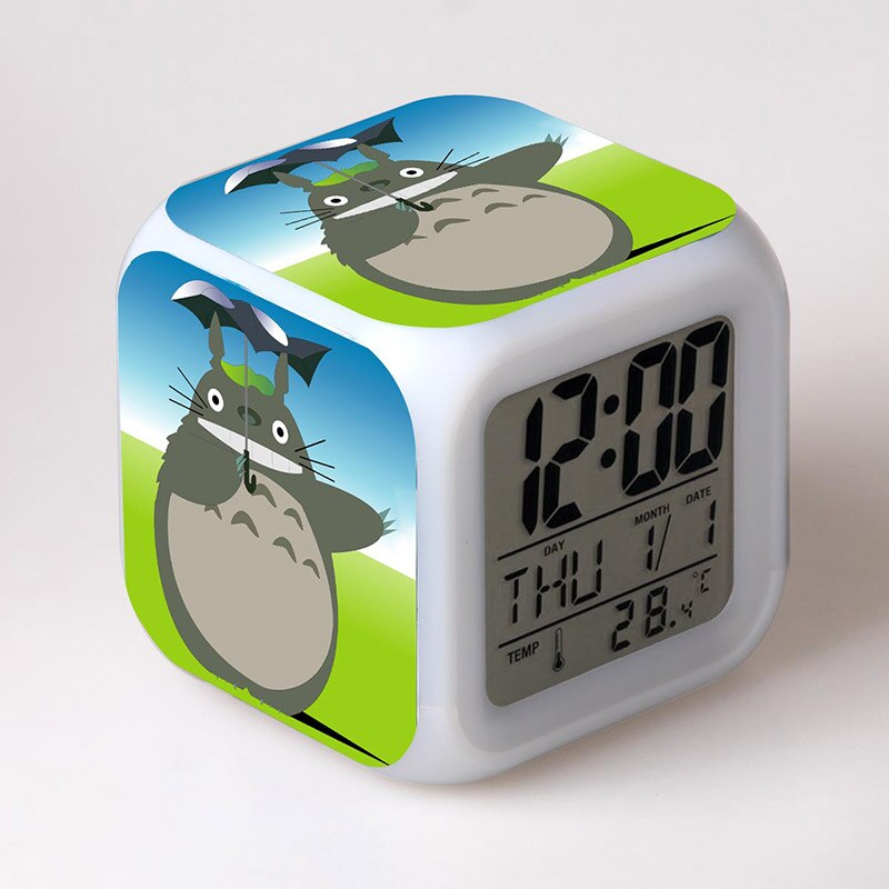 Мой сосед Тоторо Аниме фигурки с японским дизайном Хаяо Миядзаки Светодиодные Красочные световые часы анимация Тоторо игрушки для мальчик...