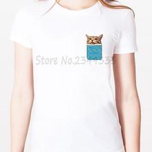 FUNNY PEEKING CAT POCKET Print Women tshirt Modal Casual Loose Funny t shirts For Lady Top Tee Drop